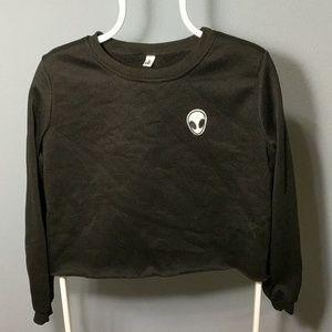 Sweaters - Womens black alien sweater crop top